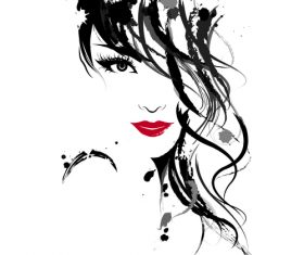 Ink painting beautiful girl vector