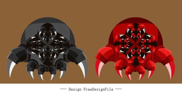 Insect robot scary monster legs mouth vector