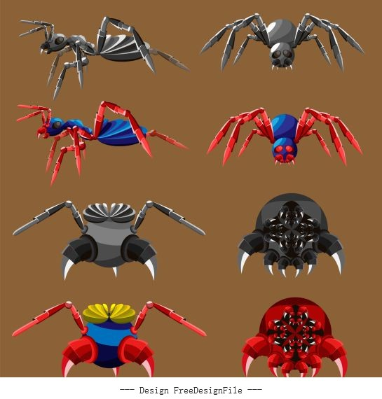 Insects robots icons colored modern design vectors
