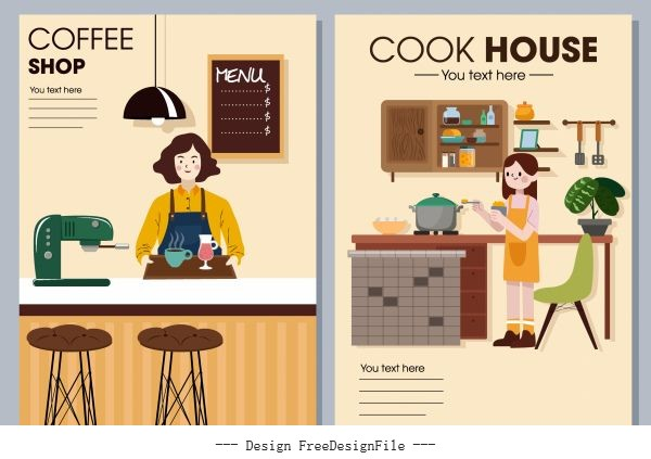 Interior decor posters coffee shop kitchen themes vector