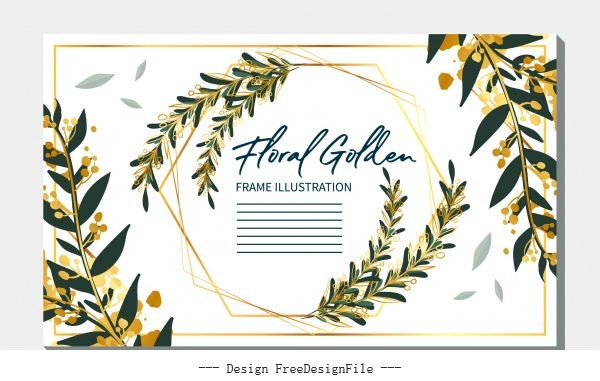 Invitation Card Template Classical Leaves Decor Vector Free