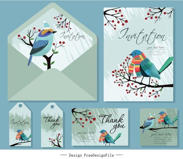 Invitation card templates natural bird tree decor vector