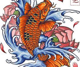 Japanese koi tattoo vector