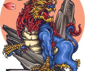 Japanese lion tattoo vector