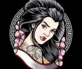 Japanese women tattoo logo design vector