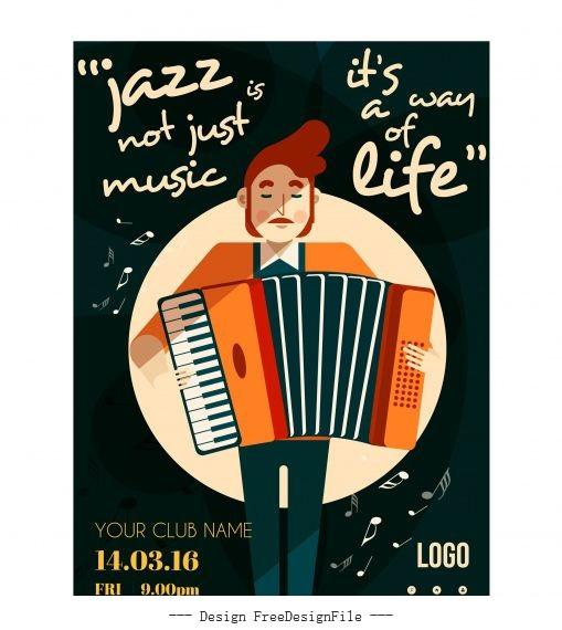 Jazz banner accordion performer texts vector design