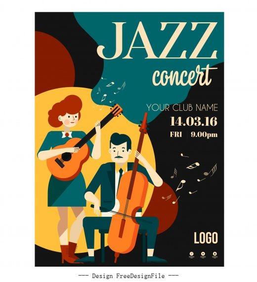 Jazz concert poster guitarists icons cartoon characters vector