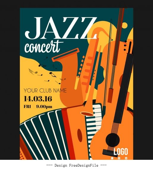 Jazz concert poster instruments colorful flat vector set
