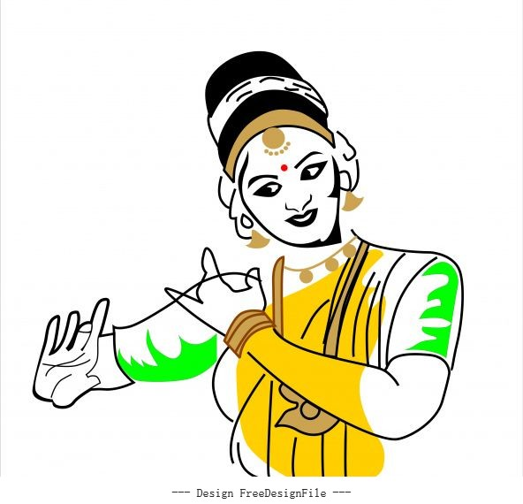 Kerala dance indian dance mudra vector material