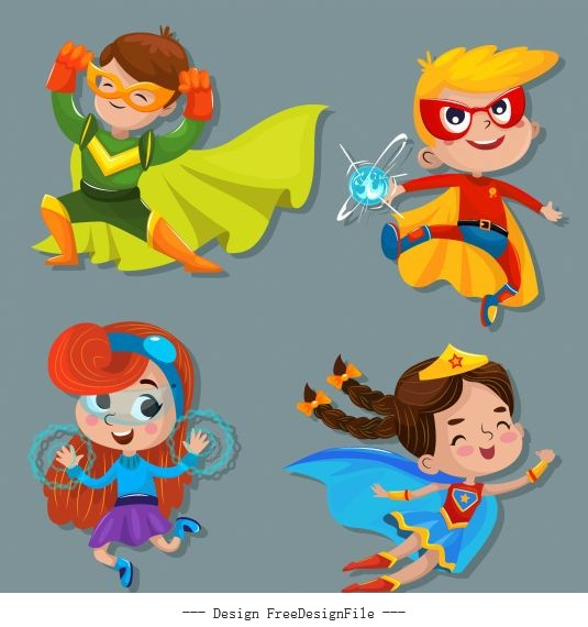 Kid hero icons cute cartoon characters vector
