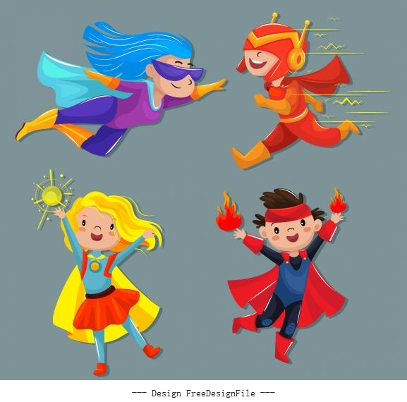 Kid hero icons funny cute cartoon characters vectors material