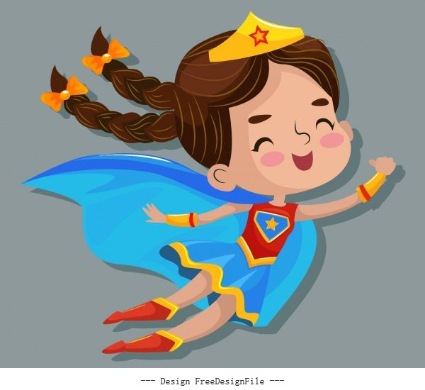 Kid superwoman flying gesture cute cartoon vectors material