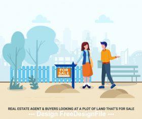 Land for sale cartoon vector