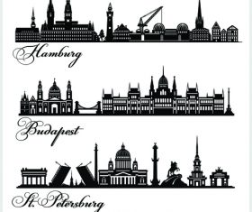 Landmarks cities building silhouette vector