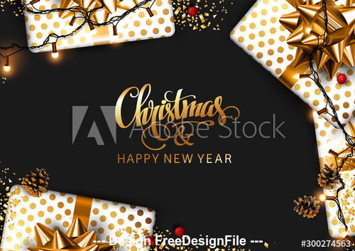 Lantern Decoration New Year background and gifts vector