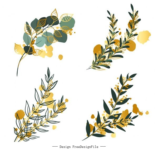 Leaf branch hand drawn vector