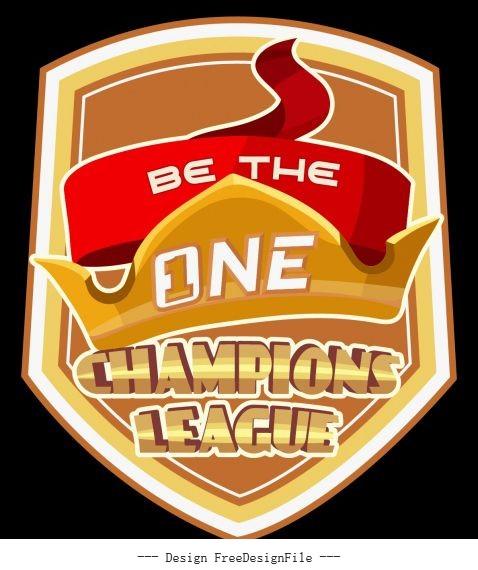 League championship logotype modern dynamic shield crown vector