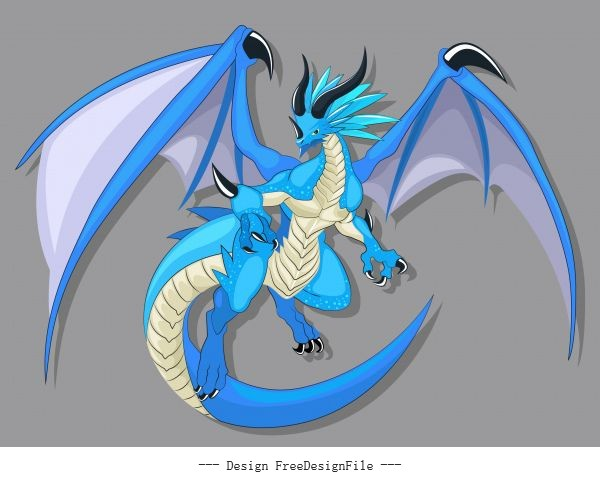 Legendary dragon icon colored cartoon character vector material