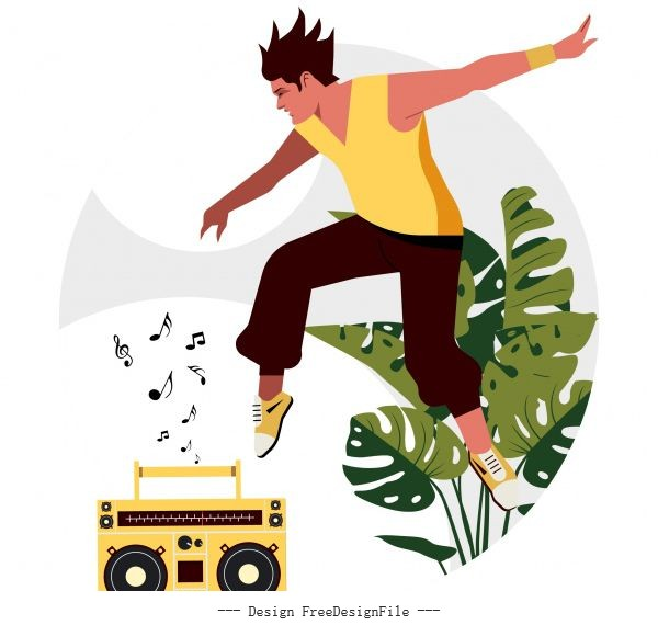 Lifestyle background excited young man radio music sketch vector