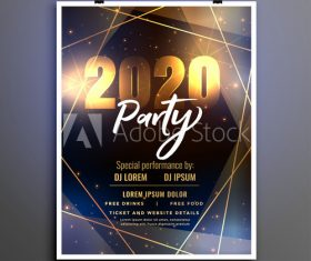 Line background new year party flyer vector