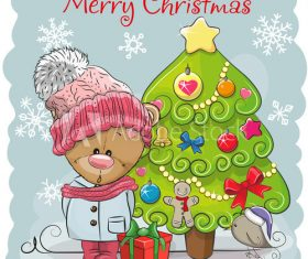 Little bear and christmas tree cartoon vector