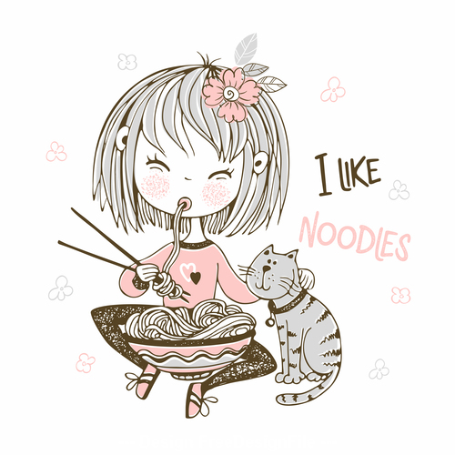 Little girl eating noodles cartoon background illustration vector