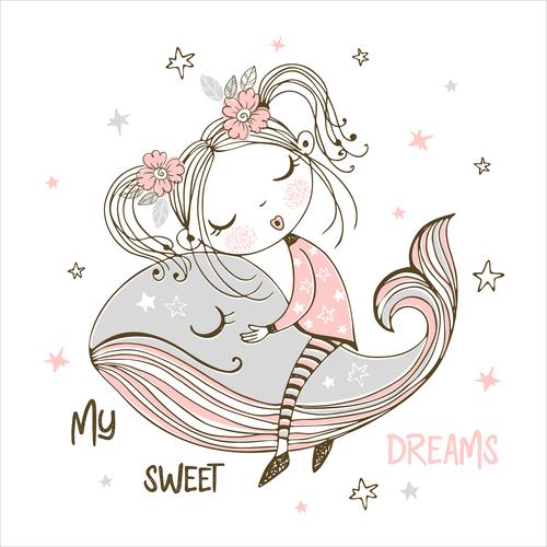 Little girl riding a whale cartoon vector