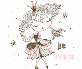 Little princess cartoon vector