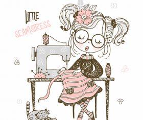 Little seamstress cartoon background illustration vector