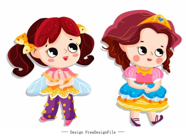 Little princess icons cute cartoon characters colorful vector