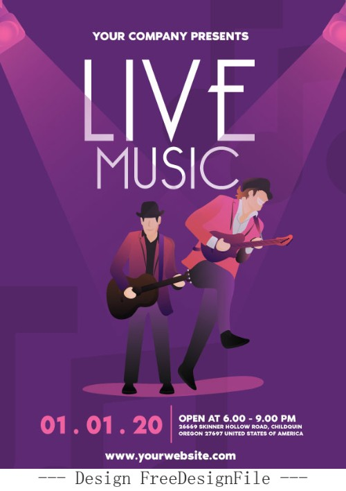 Live Music Flyer PSD Template Design
