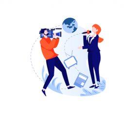 Live news broadcast cartoon vector