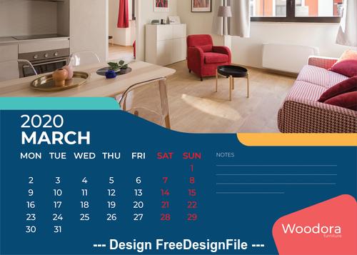 Living room background calendar 2020 vector