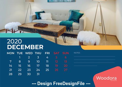 Living room furniture background calendar 2020 vector