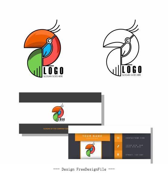 Logo template abstract parrot emblem flat geometric vector