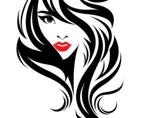 Long hair female ink painting vector