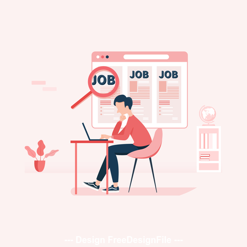 Looking for work illustration vector