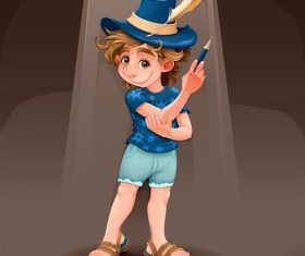 Magician child with blue hat vector
