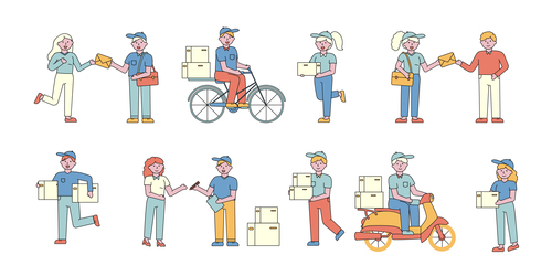 Mail delivery lineart people character vector