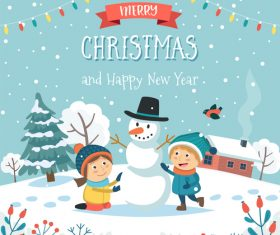Make a snowman cartoon vector illustration