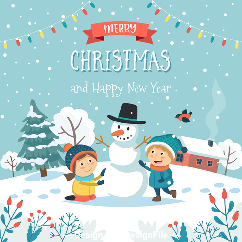 Make a snowman cartoon vector illustration