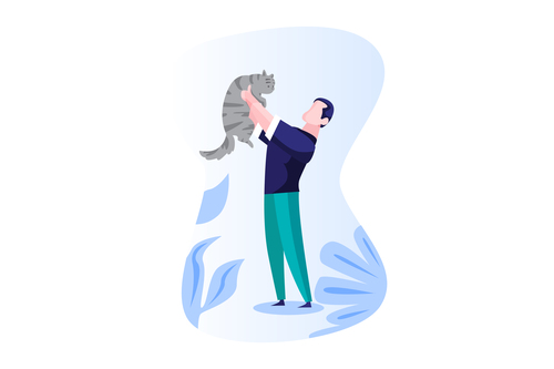 Man holding cat cartoon vector