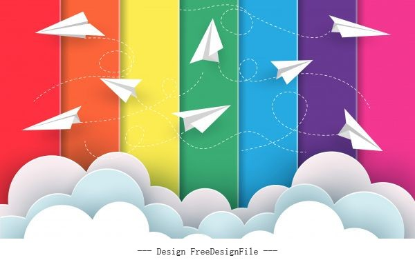 Many paper planes fly on background rainbow colorful cartoon vector