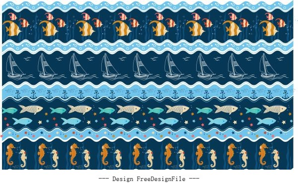 Marine pattern template colorful repeating symbols vector material