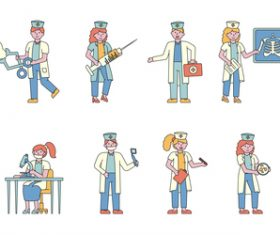 Medical lineart people character vector