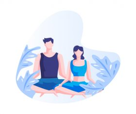 Meditation couple cartoon vector