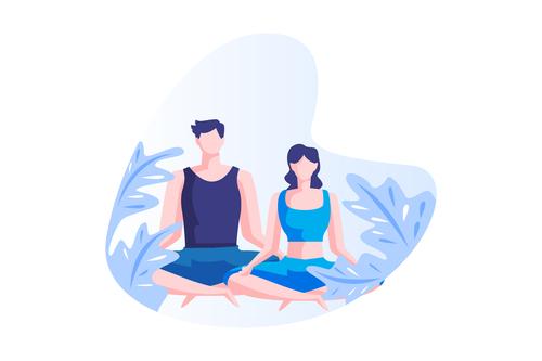 Meditation couple cartoon vector