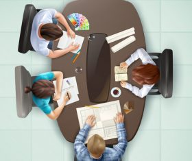Meeting business top view vector