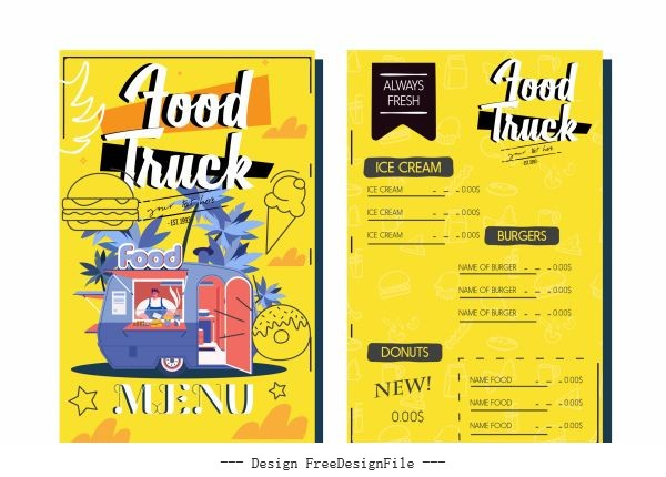 Menu template food truck sketch colorful vectors material