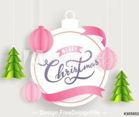 Merry Christmas decorated with paper vector